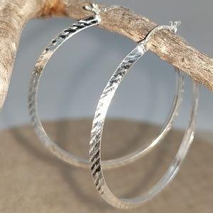 Sterling Silver Diamond cut round hoop earrings